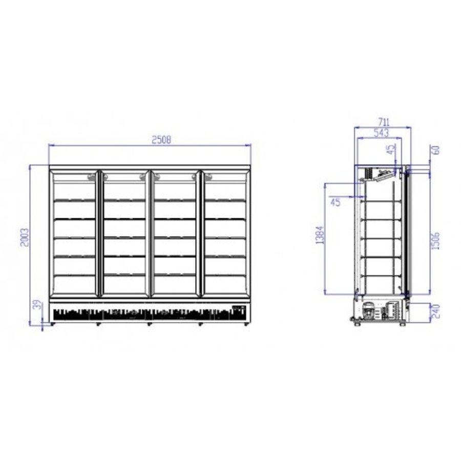 Koelkast 4 Glasdeuren   2025 Liter   RVS   Zwarte binnen- + buitenkant