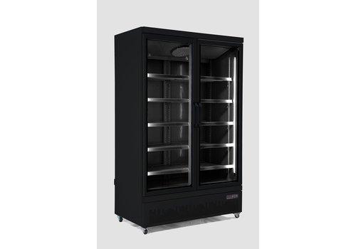 Combisteel Vrieskast 2 Glasdeuren   1000 Liter   RVS   Zwarte binnen- en buitenkant