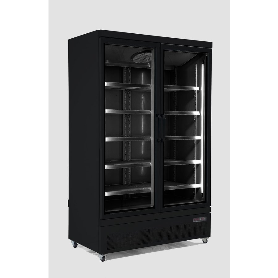 Freezer 2 Glass doors 1000 liters | Stainless steel Black inside and outside