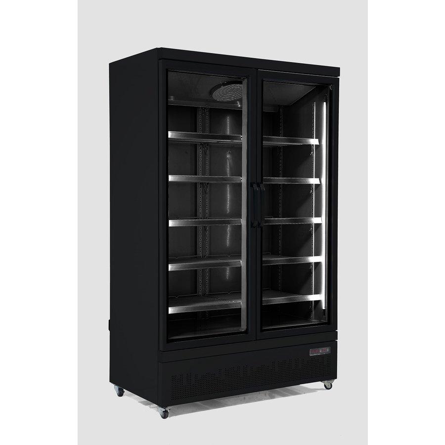 Vrieskast 2 Glasdeuren | 1000 Liter | RVS | Zwarte binnen- en buitenkant