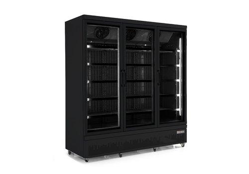 Combisteel Vrieskast 3 Glasdeuren | 1450 Liter | RVS | Zwarte binnen- en buitenkant