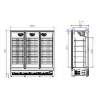 Freezer 3 Glass doors | 1450 liters | Stainless steel Black inside and outside