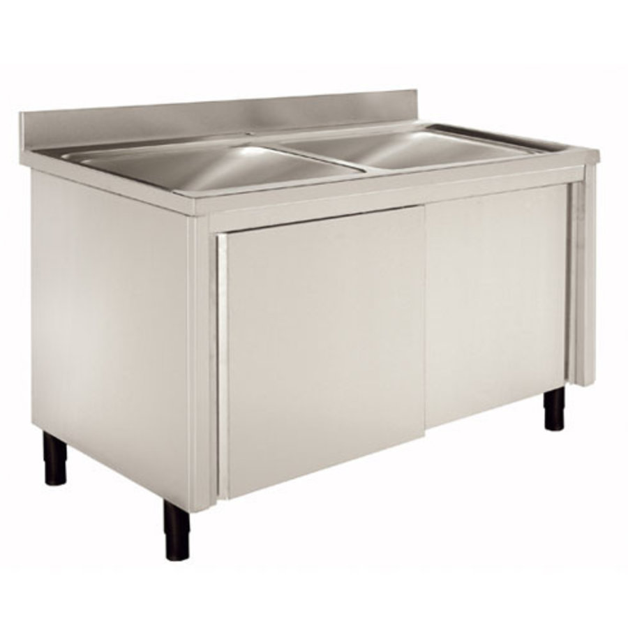 Sink with base cabinet Stainless steel 120 (1) x60 (b) x90 (h) cm