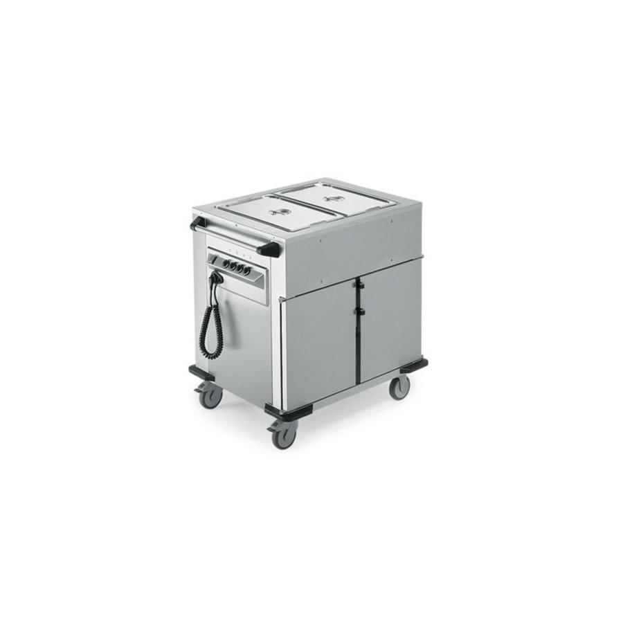 Food transport trolley Heated Cupboard | Extra warming trays upstairs