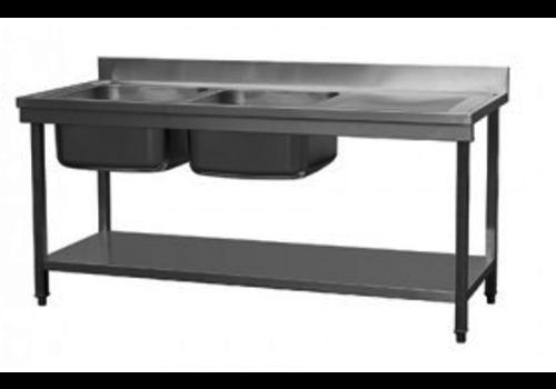 Combisteel Waschtisch Unterboden 2 Links | 180x70x90 cm | 65 KG
