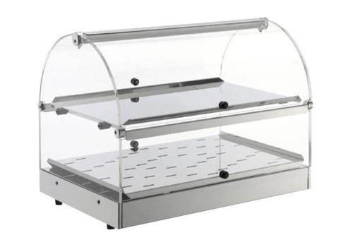Neumärker Hot display case stainless steel 2 levels - opening on both sides - 50x35x (h) 38 cm