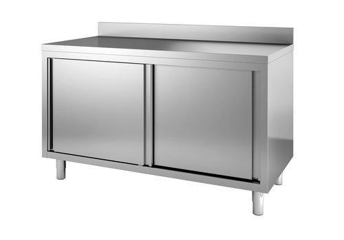 Combisteel Stainless steel chest of drawers | 160x60x (H) 85 cm | With splashback