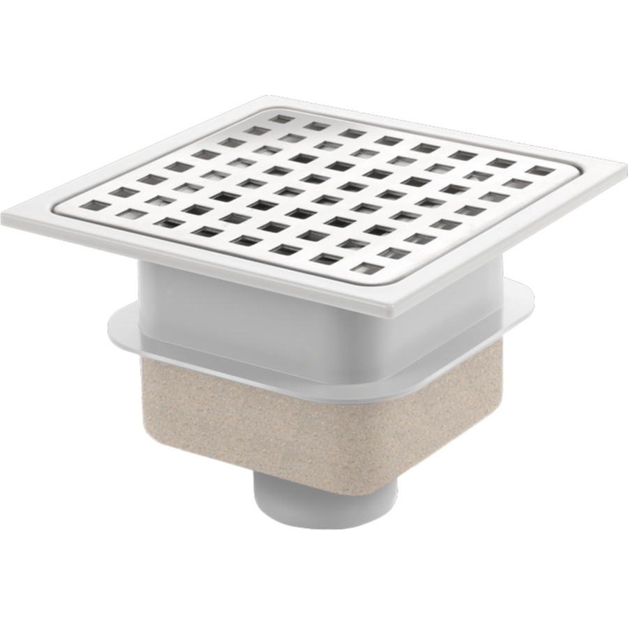 Drain | ABS well housing Stainless steel grate | 150 x 150 mm