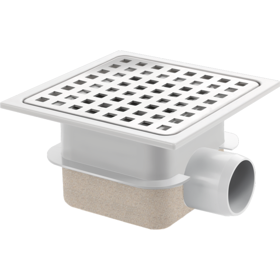 Drain Put   ABS well housing Stainless steel grid 150 x 150 mm   Incl. Connection