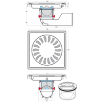 Afvoerput | RVS | 150 x 150 mm