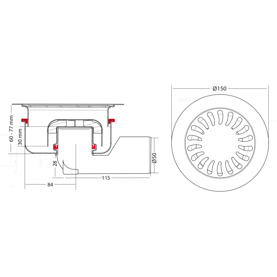 Afvoerput | RVS | Zandhuid | ø 150 mm