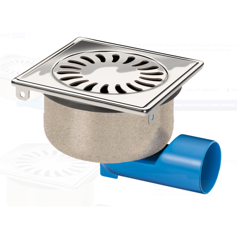 Drain well Stainless steel Sand skin 150 x 150 mm