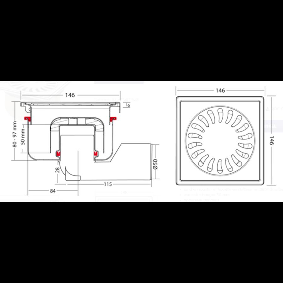 Afvoerput | RVS | Zandhuid | 150 x 150 mm
