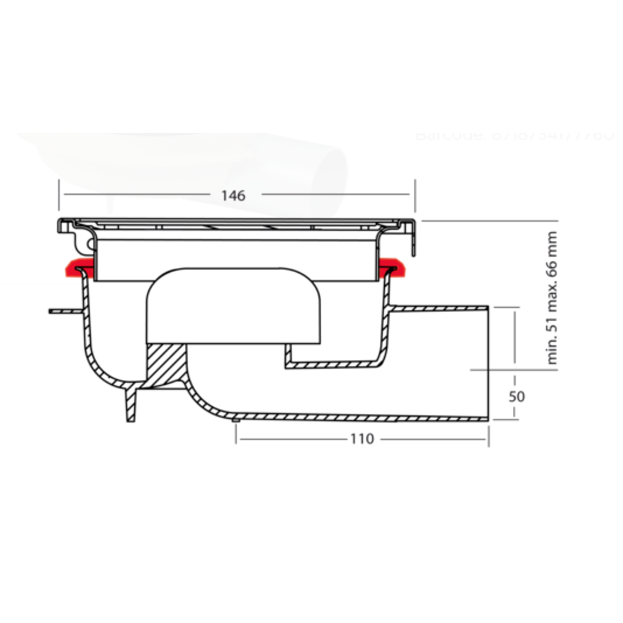 Drain well Stainless steel ABS | 150 x 150 mm