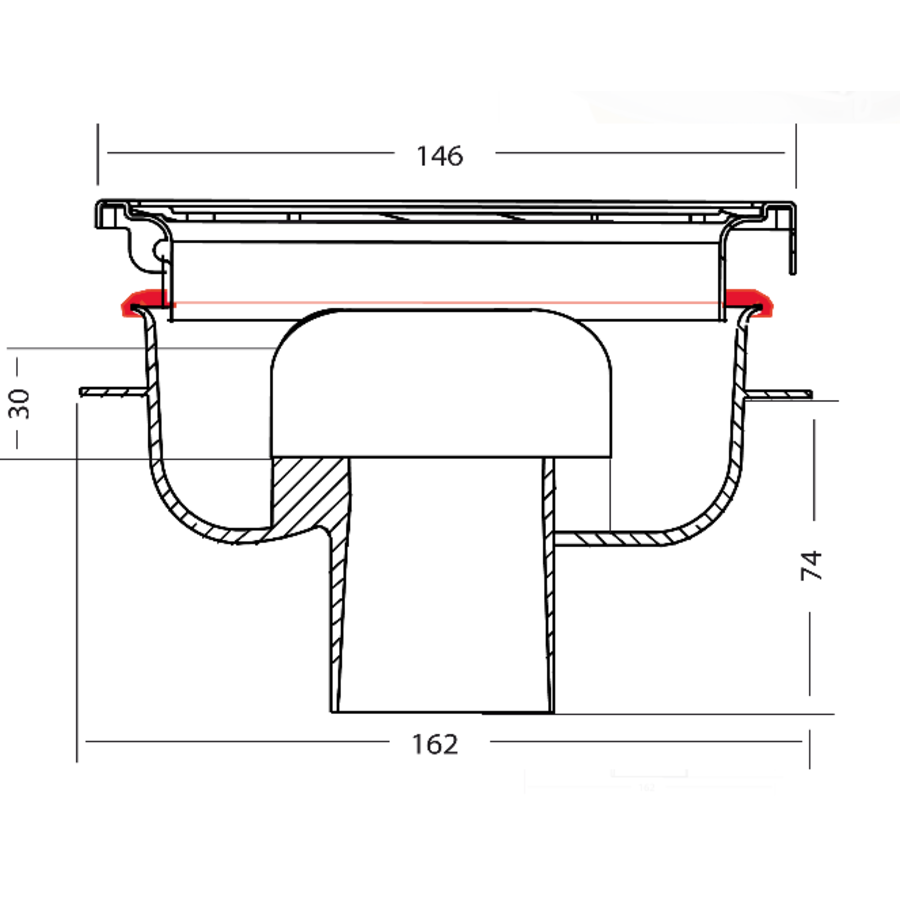 Afvoerput | RVS | Zandhuid | 146 x 146 mm