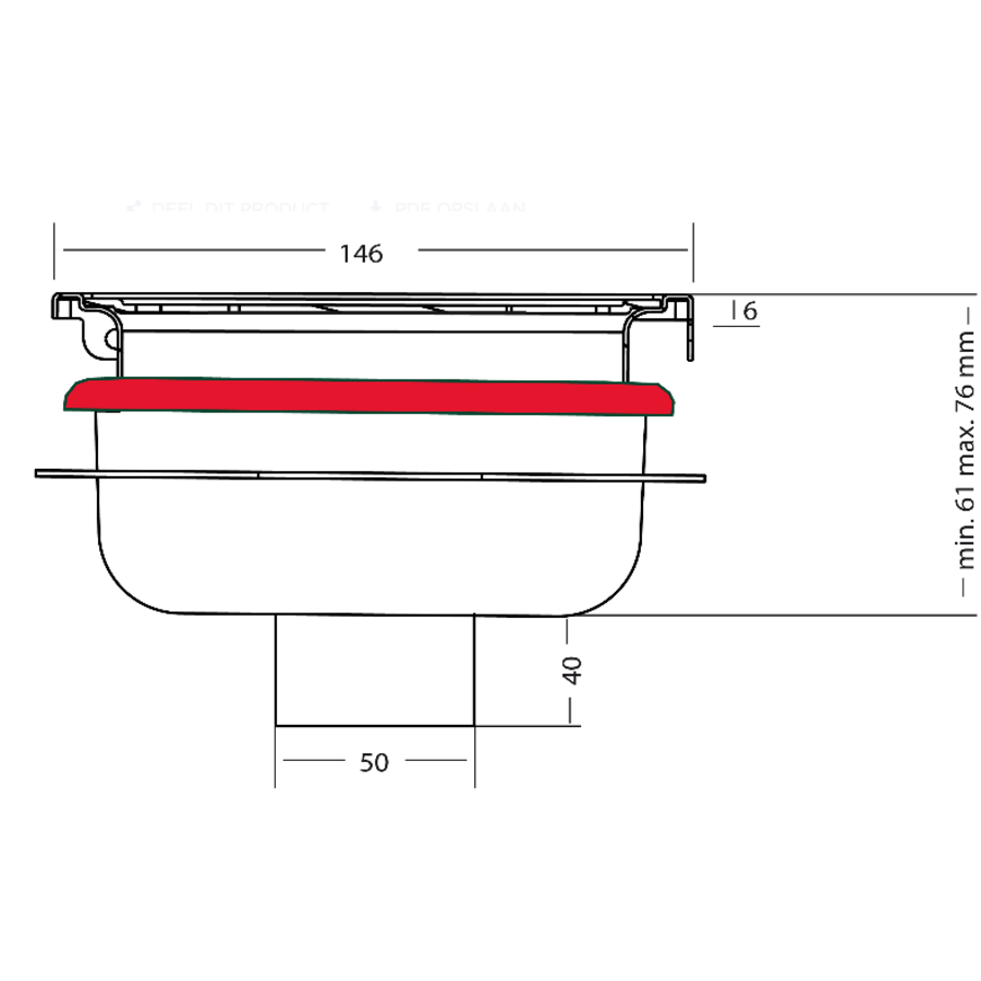 Drain well Stainless steel Sand skin 146 x 146 mm