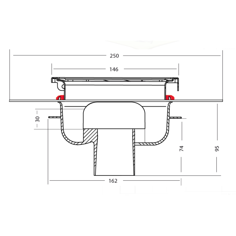 Afvoerput   RVS   Zandhuid   146 x 146 mm