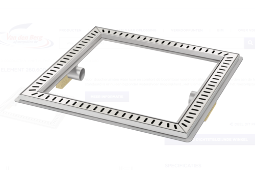 Van den Berg  Floor drain | Square Stainless steel 600 x 600