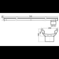 RVS | gootdeel | afm. 500 x 200 mm |  incl. uitlaat | Ø 110 mm
