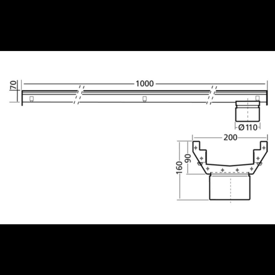 RVS | gootdeel | afm. 1000 x 200 mm | zonder uitlaat