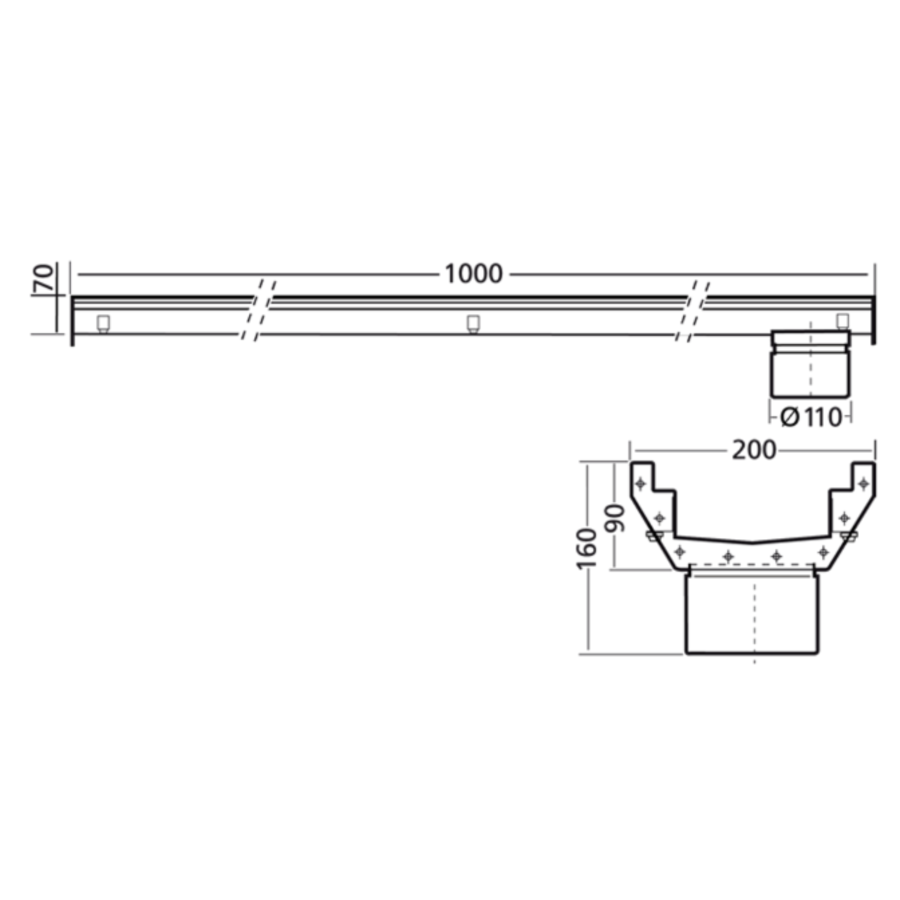 Stainless steel gutter part | dim. 1000 x 200 mm | without exhaust