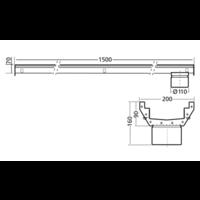 RVS | gootdeel | afm. 1500 x 200 mm |  incl. uitlaat |  Ø 110 mm