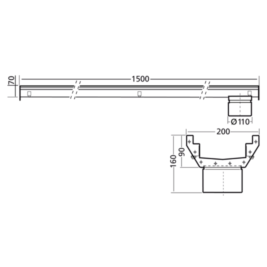 Stainless steel gutter part | dim. 1500 x 200 mm | incl. exhaust | Ø 110 mm