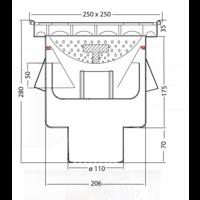 Afvoerput | Industrieel | RVS | 250 x 250 mm