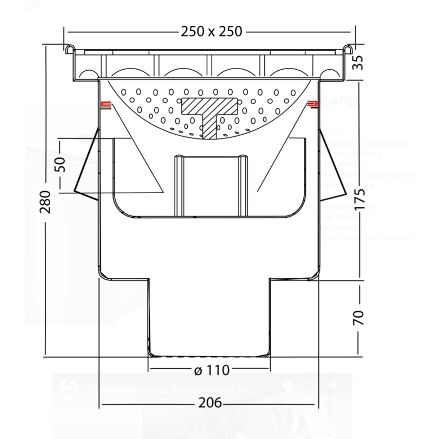 Afvoerput   Industrieel   RVS   250 x 250 mm