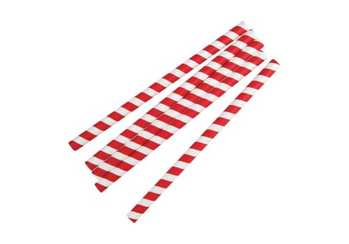 HorecaTraders Papers red / white striped smoothie straws 250 pieces