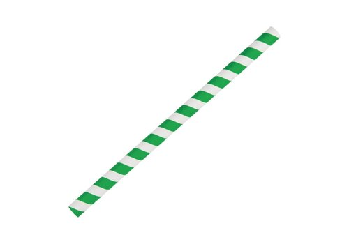 HorecaTraders Papers Green / white striped smoothie straws 250 pieces
