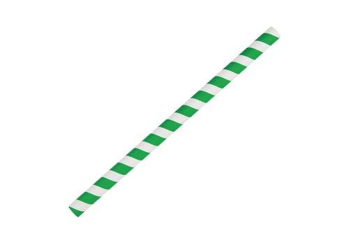 HorecaTraders Papieren | Groen/wit gestreepte smoothierietjes | 250 Stuks