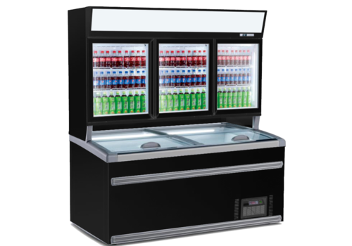 Combisteel Wall Freezer | 230 V | 269 kg | Black | 3 glass doors