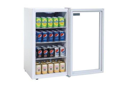 Polar Blikjeskoelkast glazen deur wit 88 liter | 82.5x43x48cm