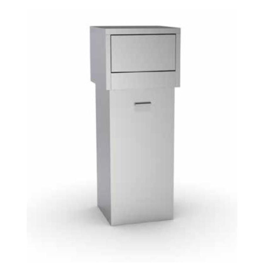 Stainless steel waste bin | 80 liters | With hinged lid
