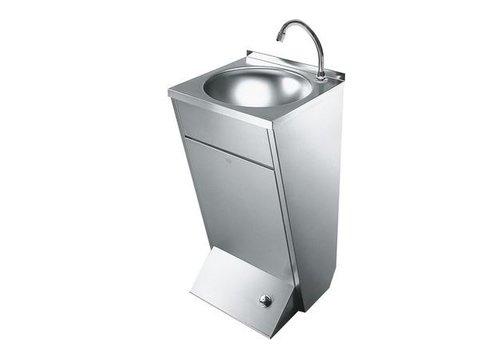 HorecaTraders Waschbecken mit Fußschalter | Wandmontage | Rostfreier Stahl