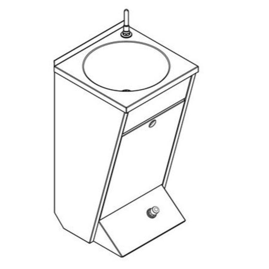 Wastafel Met Voet Bediening | Wandmontage | RVS