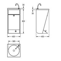 Waschbecken mit Fußschalter | Wandmontage | Rostfreier Stahl
