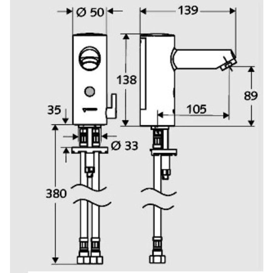 RVS Sensorkraan ECO Batterijvoeding 9V
