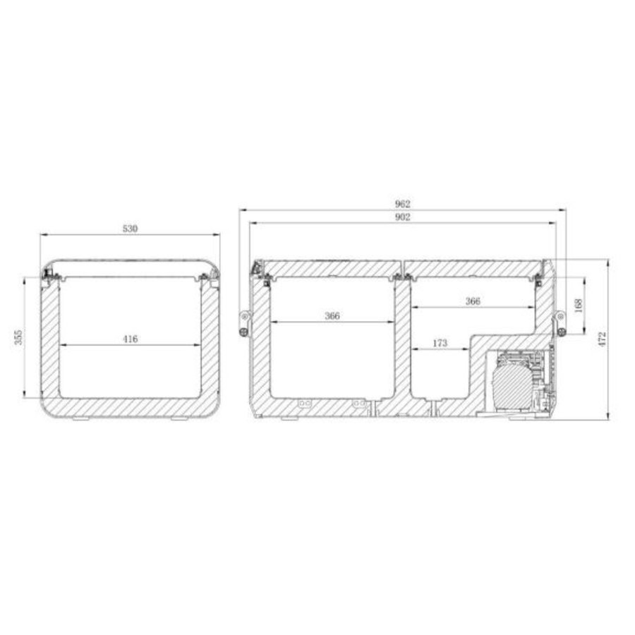 Draagbare Koelbox  | 82Liter | 53,0  cm x 47,2 cm x 96,2 cm | CFX3 95DZ | 2 Zones
