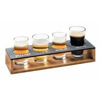 Verkostungsanzeige | Holz / Tafel | Für 4 Gläser