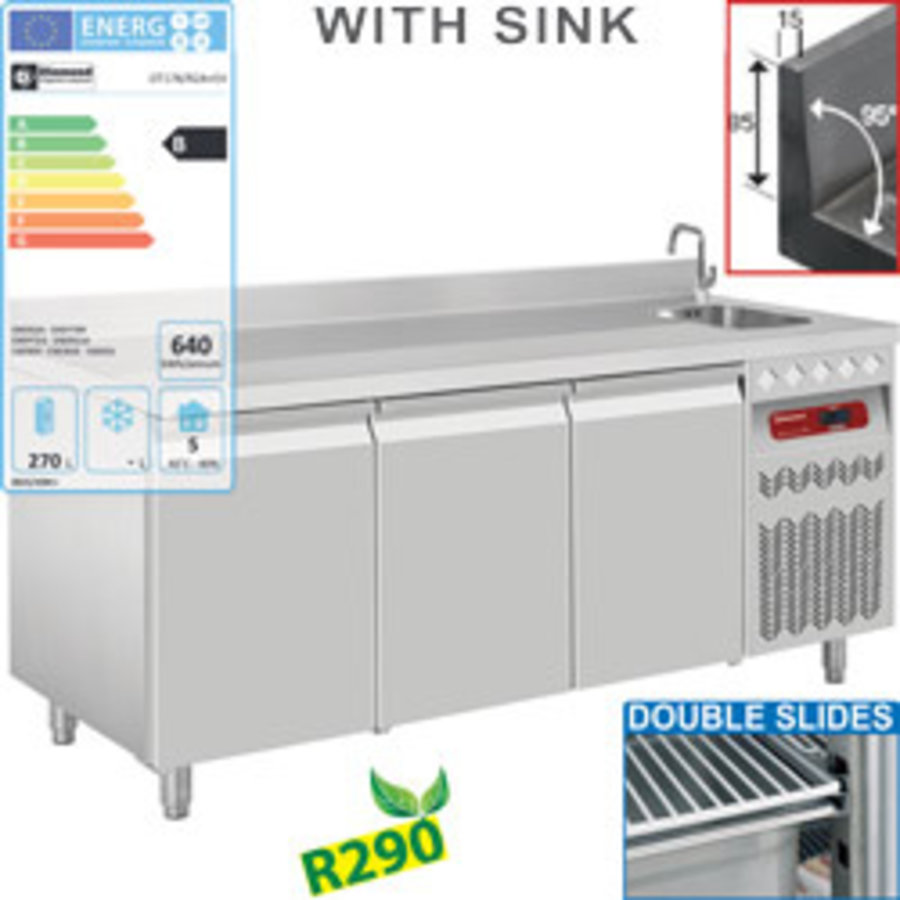 Belüfteter 3-türiger Kühlschrank mit Spüle