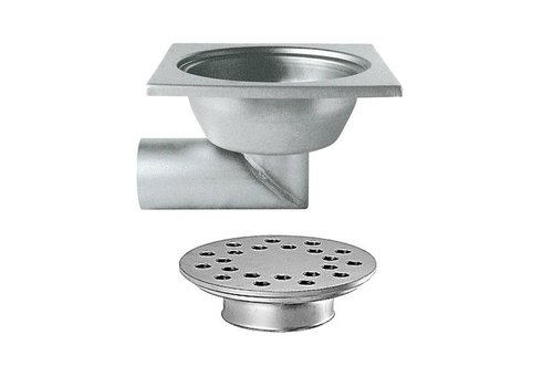 Stainless steel floor drain | 300x300 mm | Lateral drain 100 mm