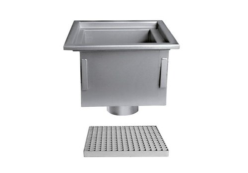 Stainless steel floor drain | 300x300 mm | Vertical Drain 125 mm
