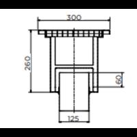 Stainless steel floor drain | 300x300 mm | Vertical Drain 125 mm