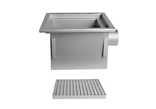 Stainless steel floor drain | 300x300 mm | Side Drain 125 mm