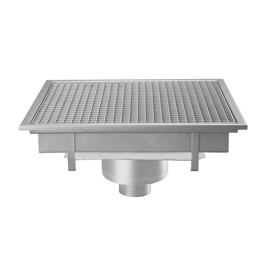 Stainless steel floor drain   600x600 mm   Vertical Drain 100 mm