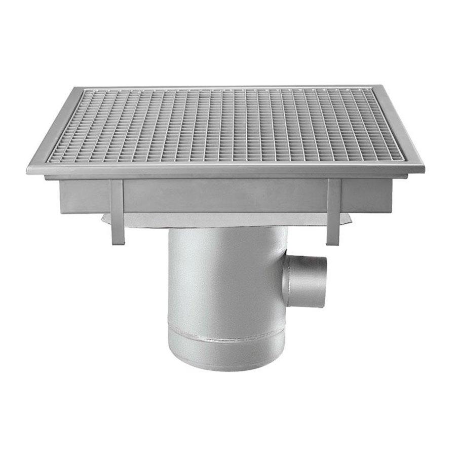 Bodenablauf aus Edelstahl | 600x600 mm | Seitlicher Abfluss 100 mm