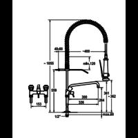 Dusche mit Zwischenhahn vorspülen | Doppelloch | Erhöht | Tischmodell