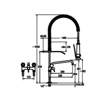 Pre-rinse shower with Intermediate tap | Double hole | Increased | Tabletop model
